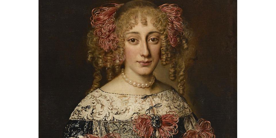 Jakob Ferdinand Voet (Antwerp 1639-circa 1700) A portrait of an elegant lady 28 3/4 x 23 1/4in (73 x 59cm)