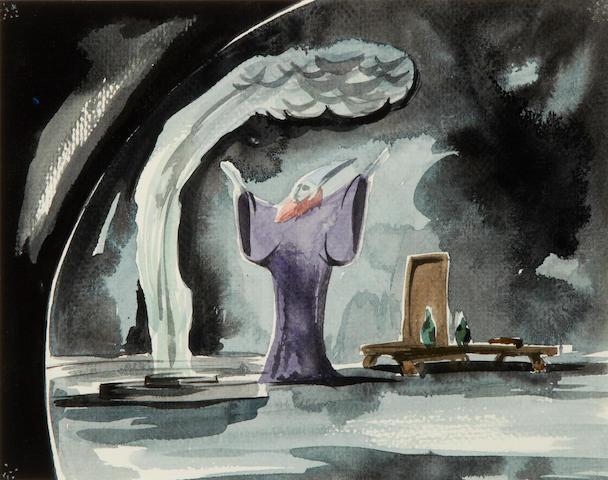A Walt Disney Studios storyboard concept watercolor from Fantasia