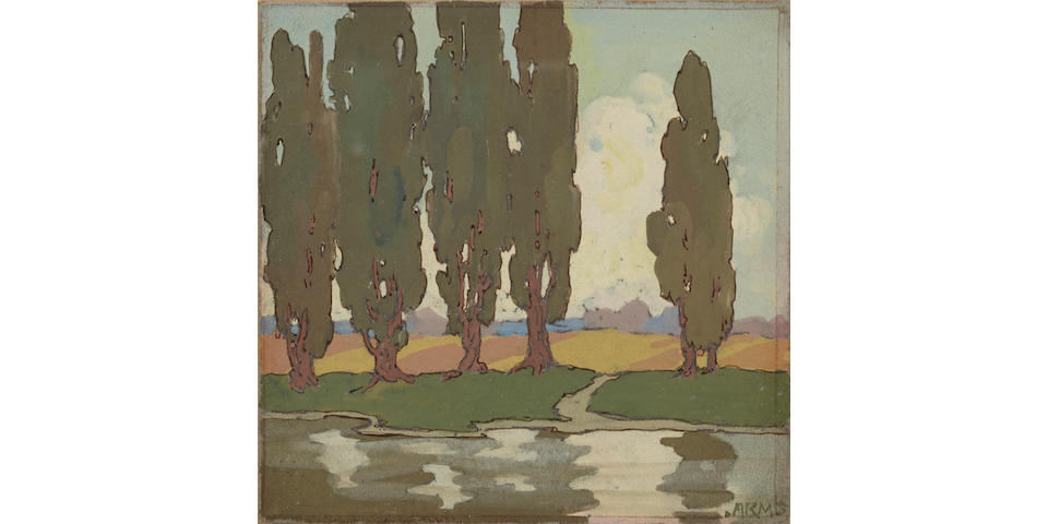 Jessie Arms Botke (American, 1883-1971) Landscape with eucalyptus trees 4 3/4 x 4 3/4in