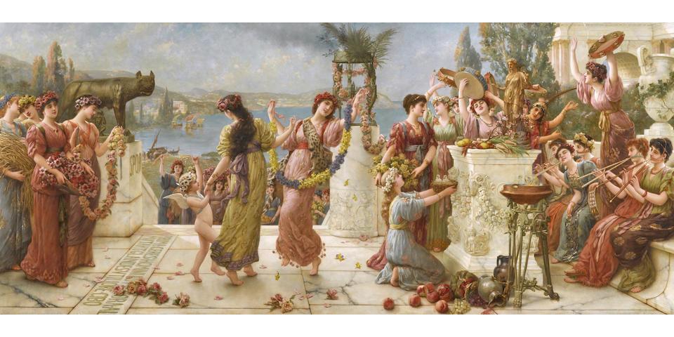 Emile Eisman-Semenowsky (Polish/French, 1857-1911) A harvest festival 33.5 x 76.5cm (90 x 194.5cm)