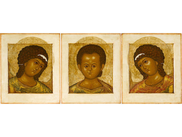 A triptych icon with Christ Emanuel and ArchangelsRussia, Moscow, 1700-1735