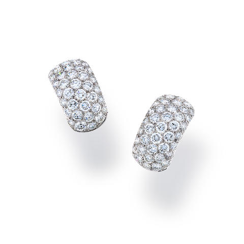A pair of diamond and platinum earclips
