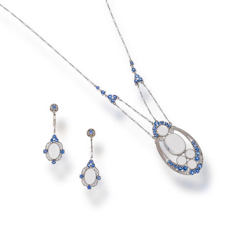 A moonstone and sapphire necklace and pendant earrings, attributed to Louis Comfort Tiffany for Tiffany & Co.,