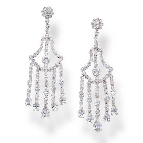A pair of diamond chandelier pendant earrings