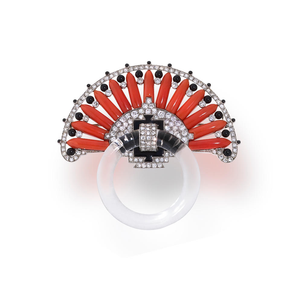 A gem-set, diamond and enamel brooch, Cartier,