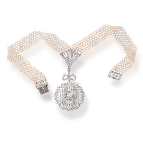 A belle epoqué diamond and seed pearl choker,