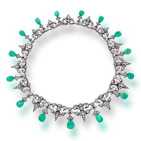 A diamond and carved emerald necklace