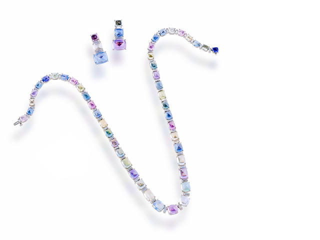 A suite of multi-colored sapphire and diamond jewelry