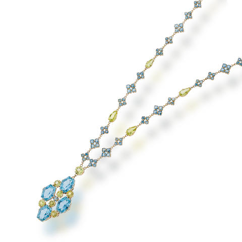 An aquamarine and chrysoberyl necklace, attributed to Louis Comfort Tiffany for Tiffany & Co.,