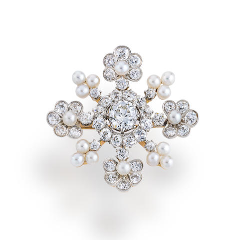 A diamond and seed pearl brooch, Marcus & Co.,