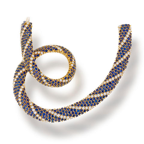 A sapphire and diamond necklace, Cartier,