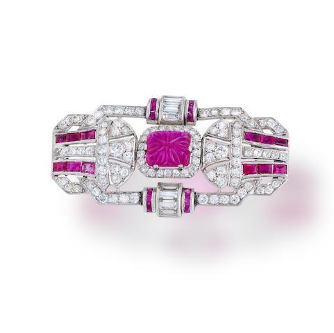 An art deco ruby and diamond brooch
