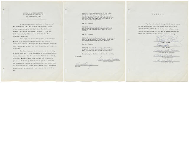 A Walt Disney signed contract relating to the creation of Disneyland