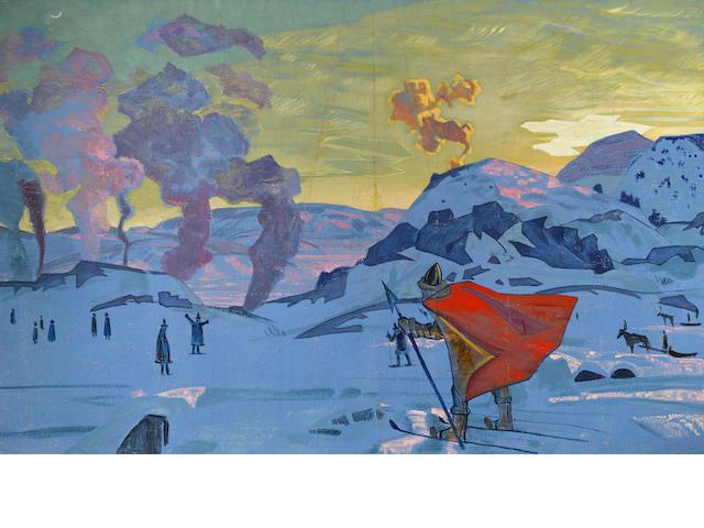 Nikolai Konstantinovich Roerich (Russian, 1874-1947) 'The signal fires of peace' (Дымы Мира),