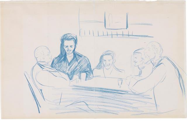EDVARD MUNCH (1863-1944) August Strindberg, Edvard Munch and friends at the café 'Zum Schwarzen Ferkel', Berlin 8 1/8 x 12 1/8 in. (20.8 x 30.9 cm)