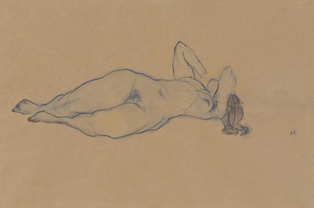 OSKAR KOKOSCHKA (1886-1990) Liegender weiblicher Akt mit abgewinkelten Armen 12 x 17 1/4in. (30.5 x 44cm)