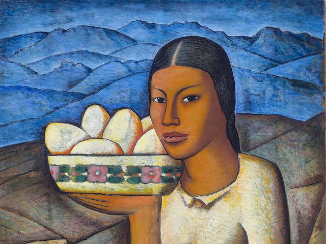 ALFREDO RAMOS MARTÍNEZ (1871-1946) Mujer con frutas 24 3/4 x 23 5/8in. (62.9 x 60cm)
