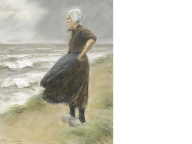 MAX LIEBERMANN (1847-1935) Holländerin, stehend in den Dünen nach links 29 7/8 x 23 1/2in. (76 x 59.5cm)