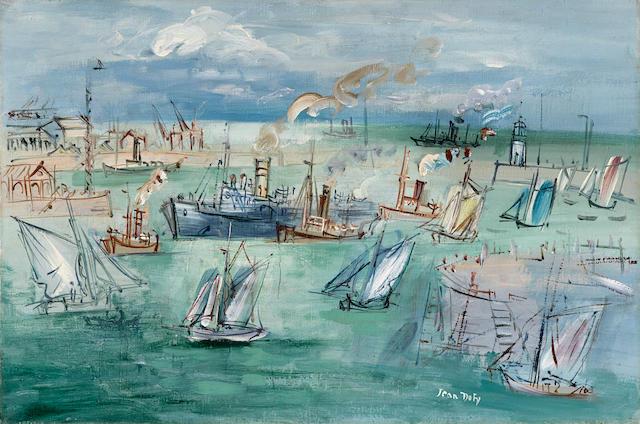 JEAN DUFY (1888-1964) Le bassin de la Manche au Havre 21 1/4 x 31 7/8in. (54 x 81cm)