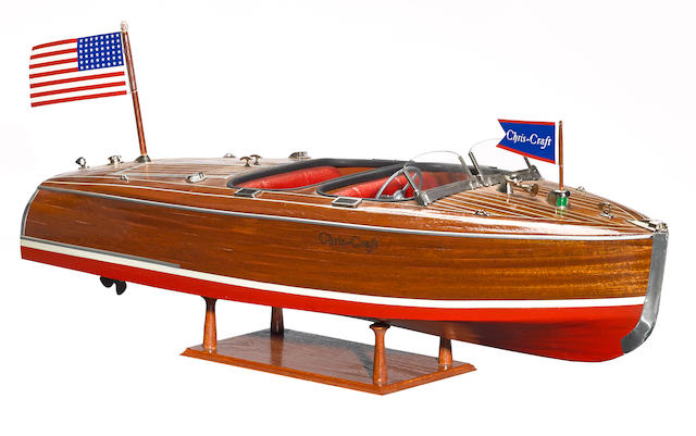 A Chris-Craft model boat, 'Roll out the barrel',