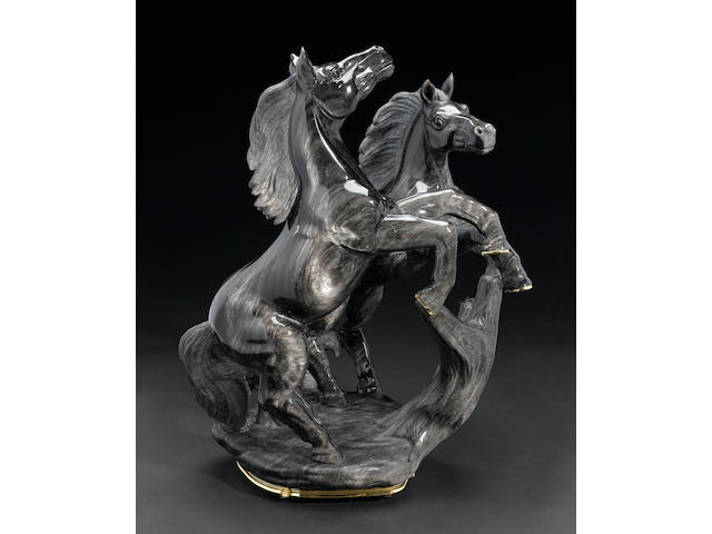 "Impressive Black Obsidian Carving of Two Horses--""Midnight Storm"""