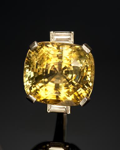 Alexandrite and Platinum and Diamond Ring