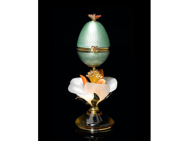 "Enamel and Gemstone ""Egg Creation"" with Removable Flower-form Brooch"