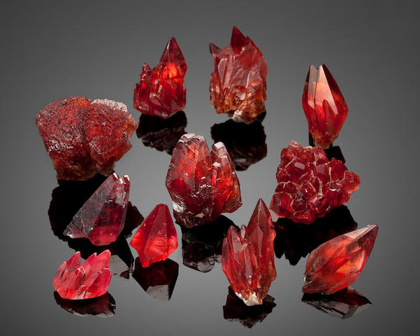 Collection of 11 Rhodochrosites Crystal Clusters