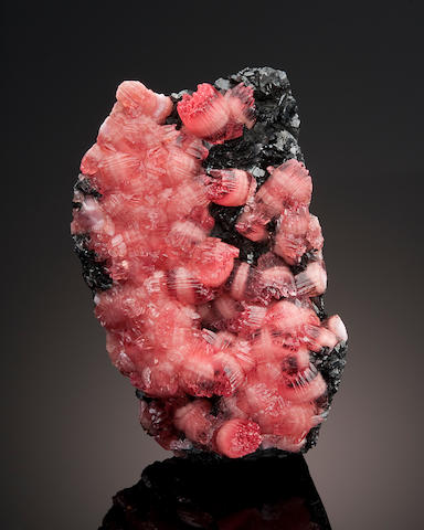 "Rhodochrosite on Manganite--""Large Wheat Sheaf"""