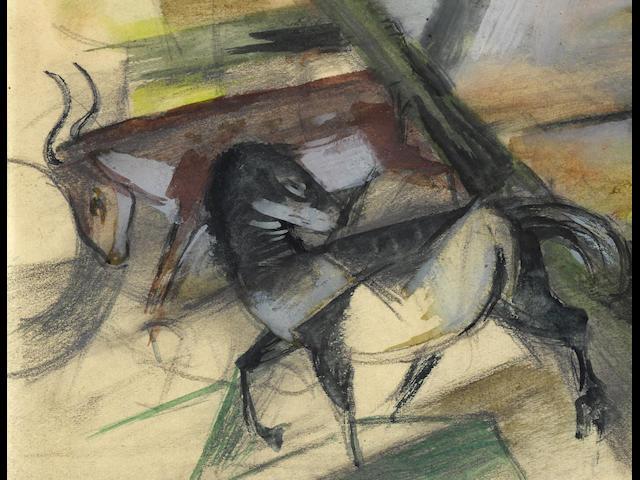 FRANZ MARC (1880-1916) Pferd und Rind 4 3/4 x 6 in. (12 x 15.1cm)