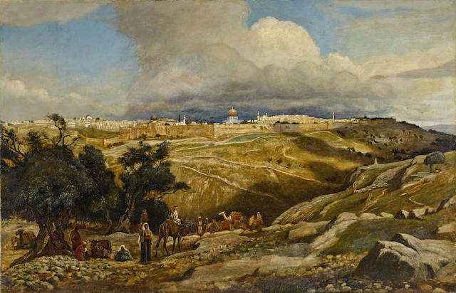 Edwin Lord Weeks (American, 1849-1903) A view of Jerusalem 39 x 60in (99 x 152.4cm)