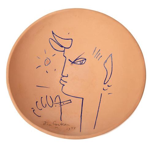 Jean Cocteau (French, 1889-1963); Chêvre pied bleu - profil gauche ;