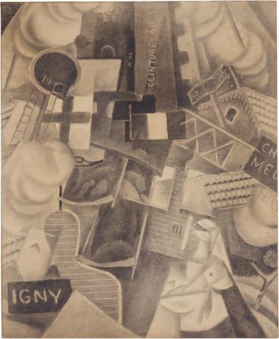 GINO SEVERINI (1883-1966) Train de blessés 21 3/4 x 17 3/4 in. (55.3 x 45.3 cm)