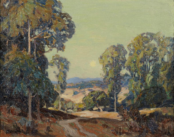 Carl Oscar Borg (American, 1879-1947), Wooded hillside, signed (lower left), oil on canvas, 16 x 20in