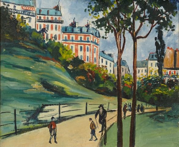 Elisée Maclet (French, 1881-1962) Figures in a city park 18 1/8 x 21 7/8in.