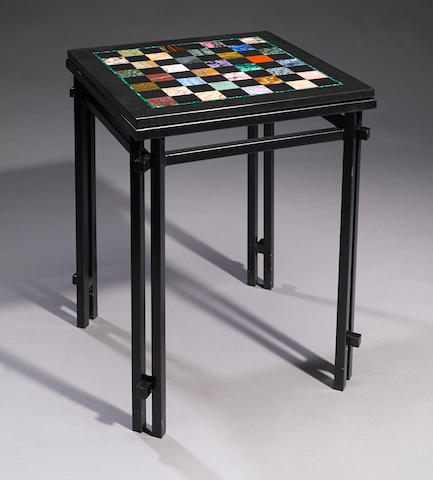 Dramatic Multi-gem-set Pietra Dura Intarsia Chess Table on Metal Stand