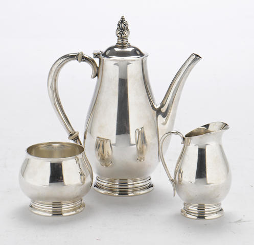 An American  sterling silver Modernist three-piece coffee service by International Silver Co., Meriden, CT, mid-20th century