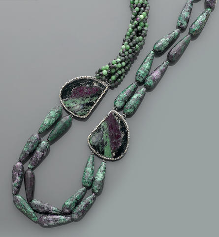 Ruby-in-Zoisite Necklace with Diamonds