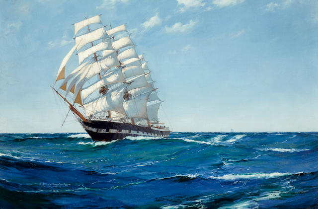 Montague Dawson (British, 1890-1973) Bound for the West - East India Clipper Ship Waimate 24 x 36 in. (60.9 x 91.4 cm.)