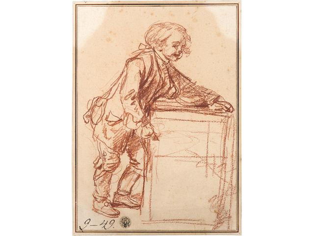 Jean Baptiste Greuze (Tournus 1725-1805 Paris) A sketch of a Savoyard boy with his peep-show box