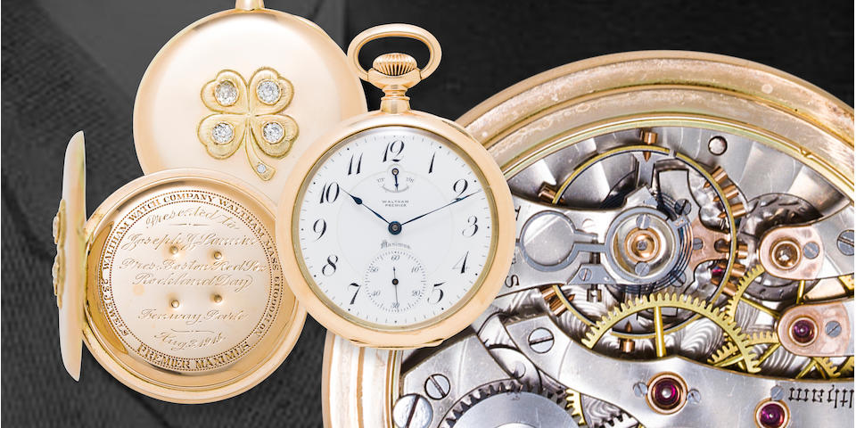 Waltham. A fine 18K gold open face diamond-set presentation watch with winding indicatorPremier Maximus, No. 17000119