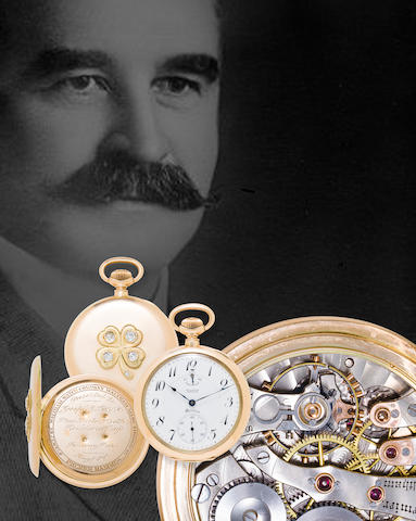 Waltham. A fine 18K gold open face diamond-set presentation watch with winding indicatorPremier Maximus, No. 17000119