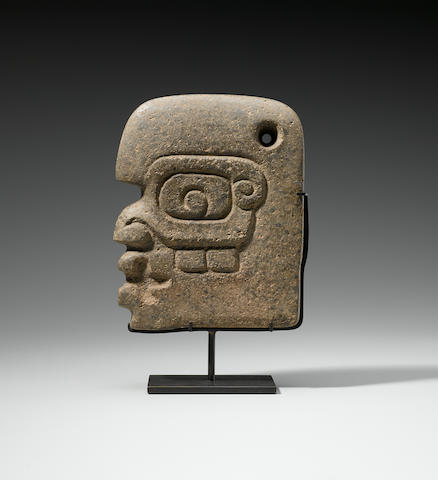 Maya Head Hacha, Late Classic, ca. A.D. 550 - 950