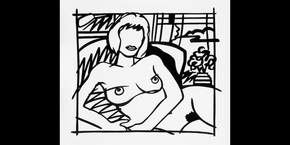 TOM WESSELMANN (1931-2004) Monica Nude with Transparent Curtains (Black), 1987