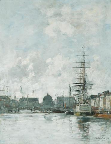 EUGÈNE BOUDIN (1824-1898) Le Havre 16 1/8 x 12 5/8in. (41 x 32cm)