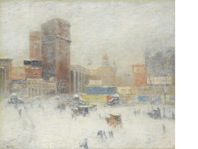 Guy Carleton Wiggins (American, 1883-1962) Manhattan in winter 34 x 40in