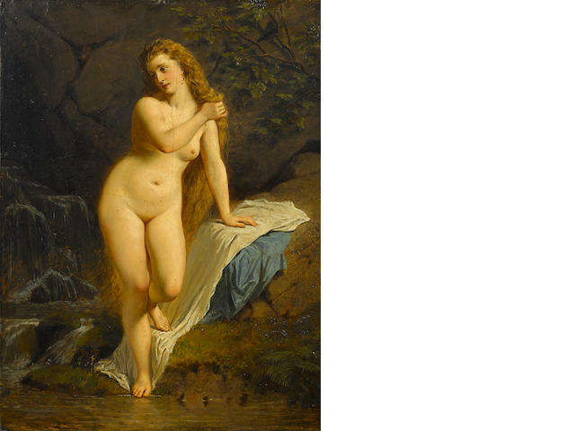 English School, late 19th Century A nude at the river's edge 24 1/2 x 18 3/4in