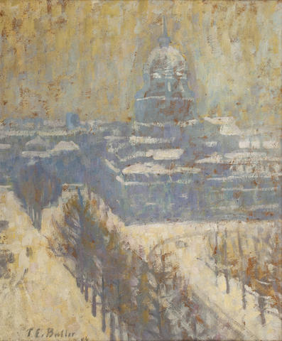 Theodore Earl Butler (American, 1861-1936) View of the Invalides, Paris 15 x 12 1/2in