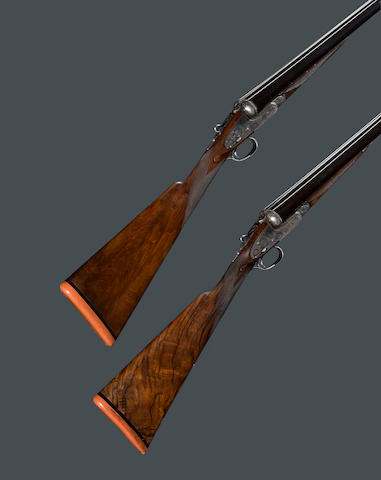 A cased pair of 12 gauge sidelock ejector guns by Boss & Company