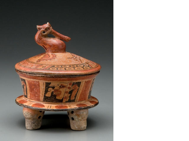 Maya Quadripod Basal-Flanged Bowl with Water Bird Finial on Cover, Early Classic, ca. A.D. 250 - 650
